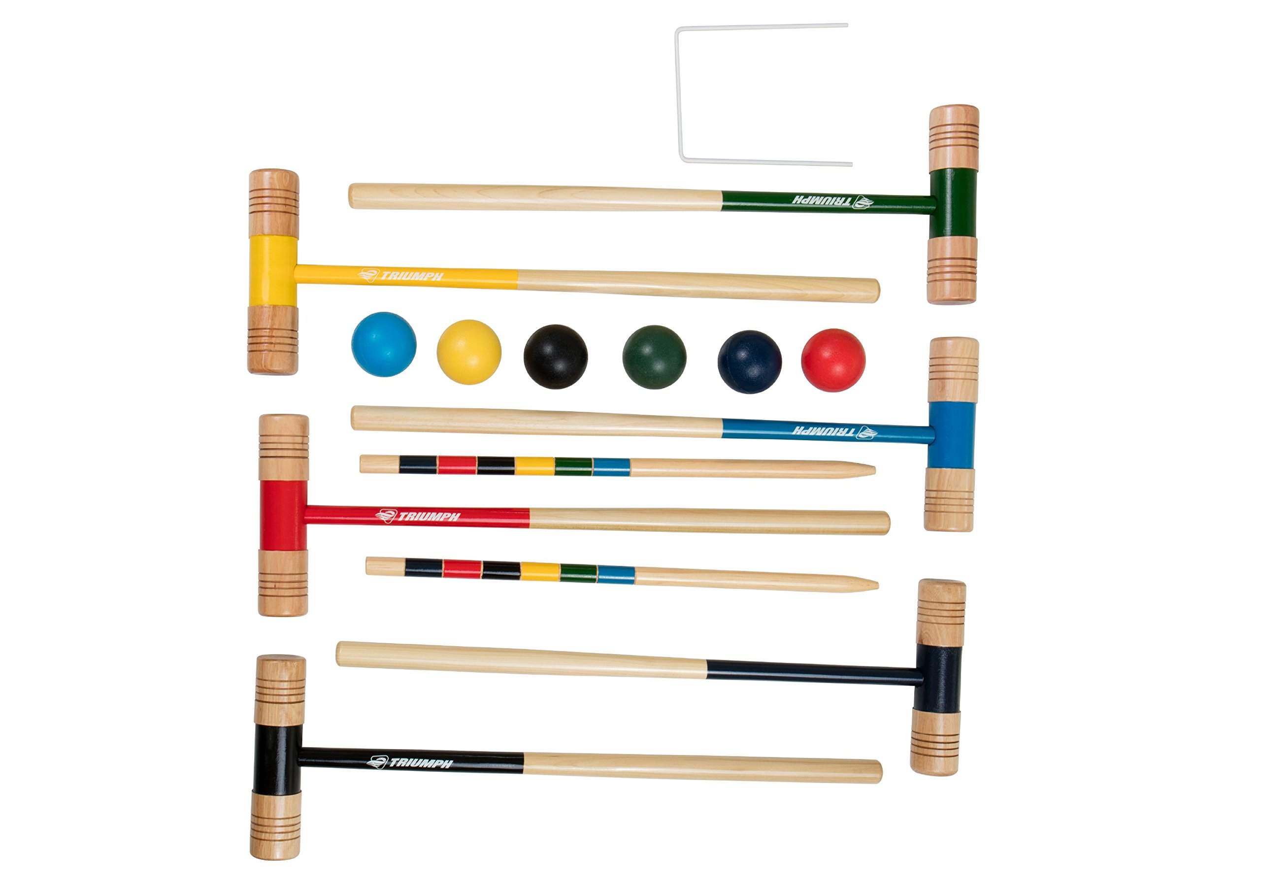Triumph 6-Player All Pro Backyard Croquet Set with 6 Wood Mallets, Balls, and Carry Bag by Triumph Sports