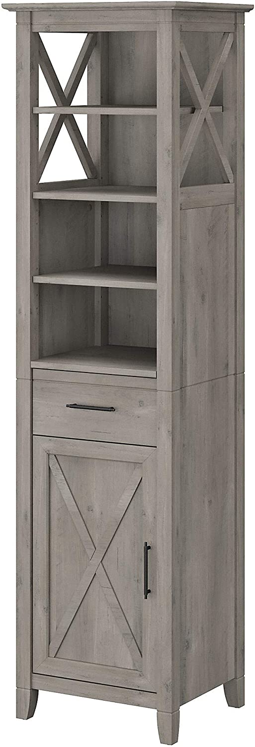 Bush Furniture Key West Bathroom Tall Linen Cabinet and Laundry Hamper with Lid, Driftwood Gray