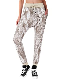 dbff6e5560 BAISHENGGT baishe nggt Mujer Baggy Sweatpants Pantalones Boyfriend Sports  Pantalones de All Over Print Negro