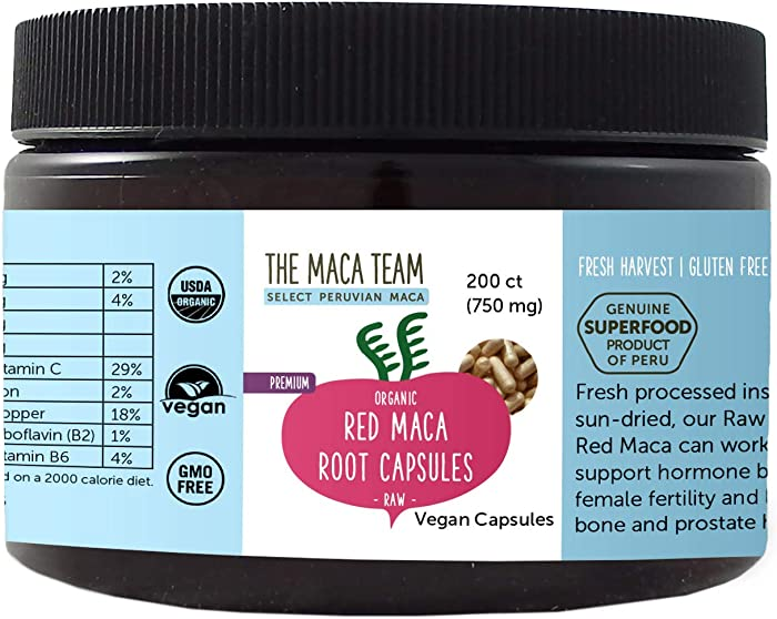 The Maca Team Premium Raw Red Maca Root Capsules, Certified Organic, Vegan, GMO- and Gluten-Free, 750 mg Size, 200 Count