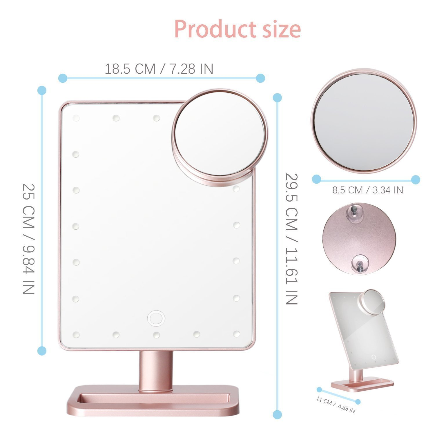 Hansong Makeup Mirror with Lights/Vanity Mirror,20 LED Lights Cosmetic Mirror with USB Chargeable,Wireless Audio Speakers,Detachable 10X Magnifying,180° Rotation Vanity Mirror with Lights(Rose Gold)