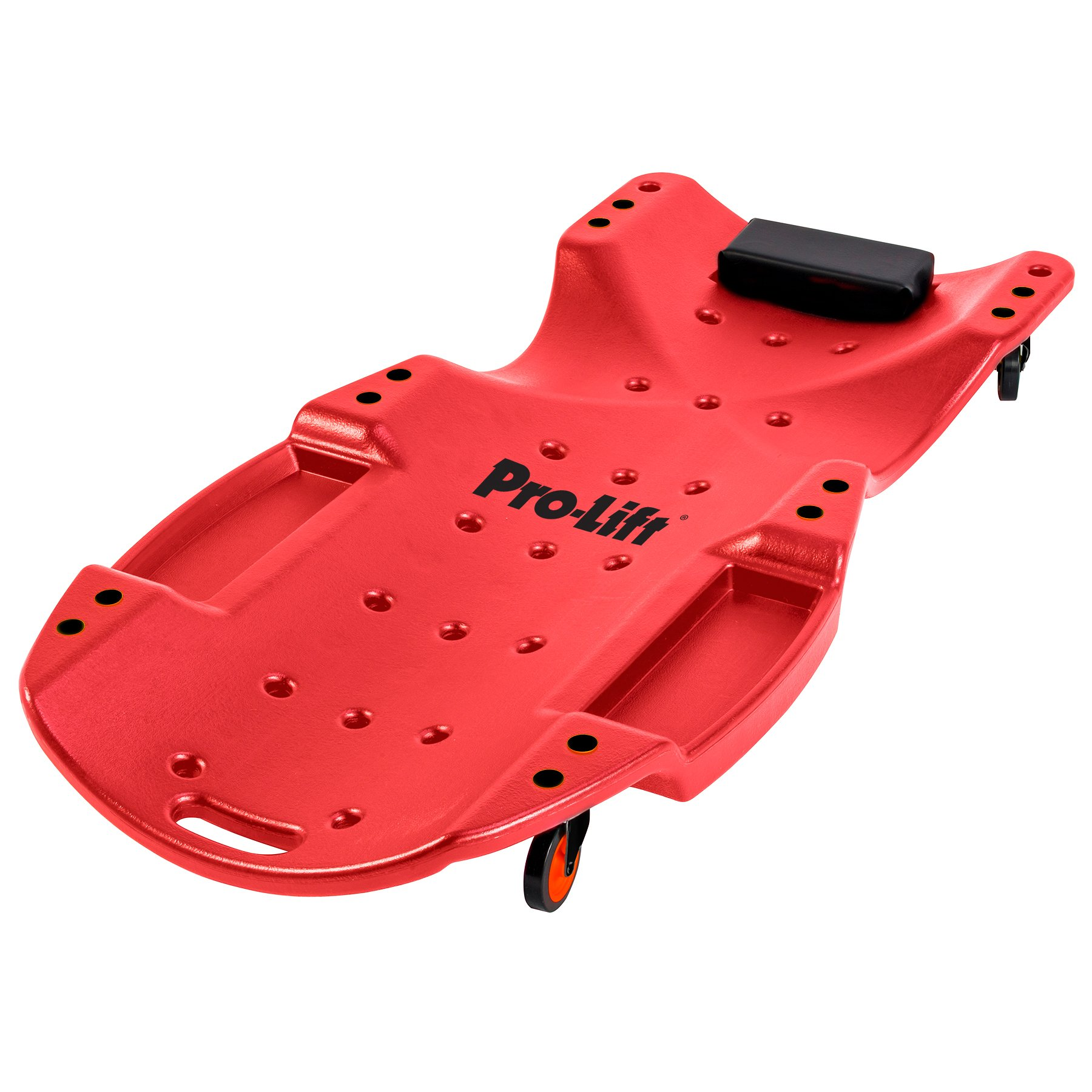 Pro Lift Mechanic Plastic Creeper 48 Inch - Blow Molded Ergonomic HDPE Body with Padded Headrest & Dual Tool Trays - 440 Lbs Capacity Red