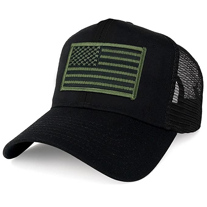 Armycrew XXL Oversize Black Olive USA Flag Patch Mesh Back Trucker Baseball  Cap - Black 8fab1e0e3eb