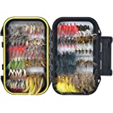 FISHINGSIR Fly Fishing Flies, 12/64/100/120 PCS Fly Fishing Lure -Dry Flies,Wet Flies,Streamer, Nymph, Emerger Kit with Waterproof Pocketed Fly Box
