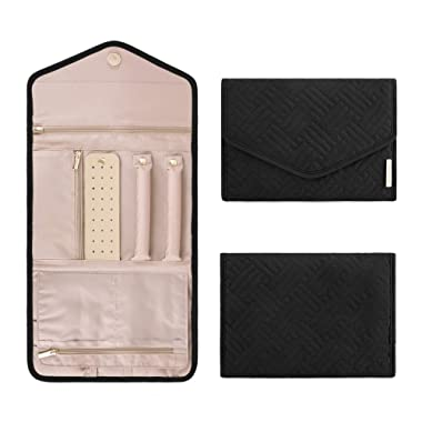 BAGSMART Travel Jewelry Organizer Roll Foldable Jewelry Case for Journey-Rings, Necklaces, Bracelets, Earrings, Black