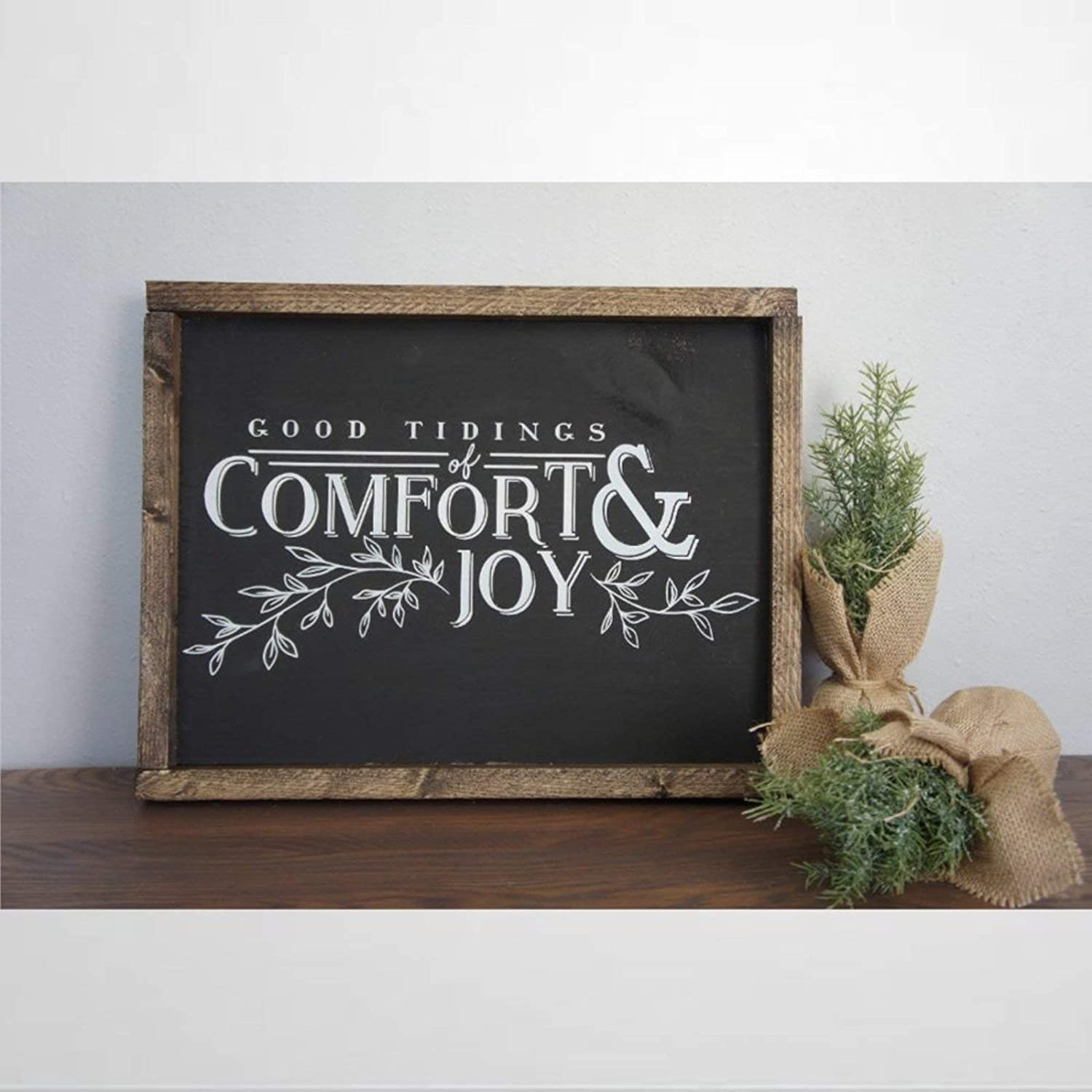 BYRON HOYLE Good Tidings of Comfort and Joy Framed Wood Sign, Wooden Wall Hanging Art, Inspirational Farmhouse Wall Plaque, Rustic Home Decor for Nursery, Porch, Gallery Wall, Housewarming