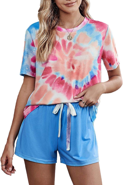 Sidefeel - Conjunto de pijama de manga corta para mujer, con estampado de teñido, con pantalones cortos - Multi - XL