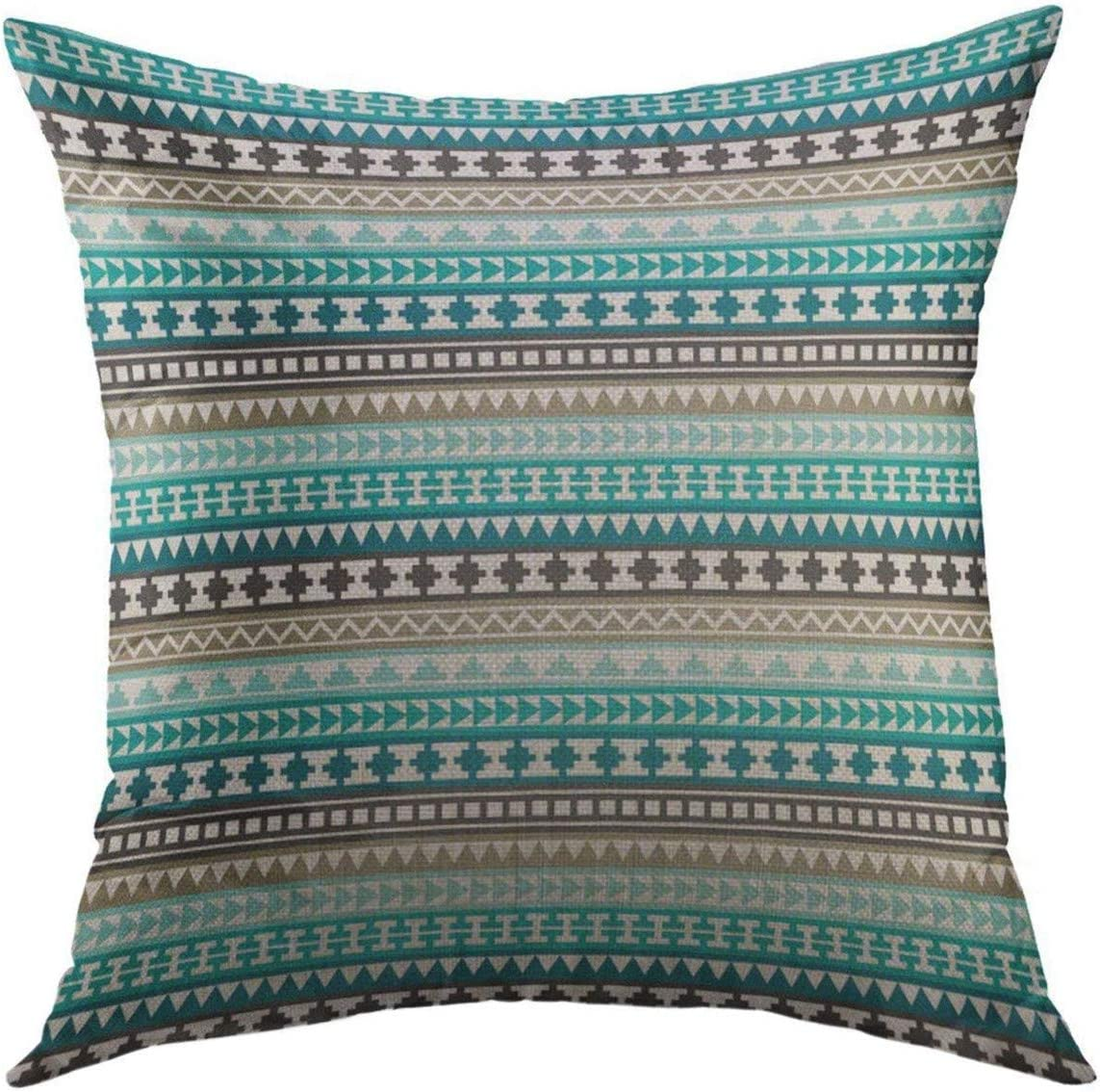 Mugod Decorative Throw Pillow Cover for Couch Sofa,Blue Turquoise Teal Gray Tribal Aztec White Hipster Home Decor Pillow case 18x18 Inch