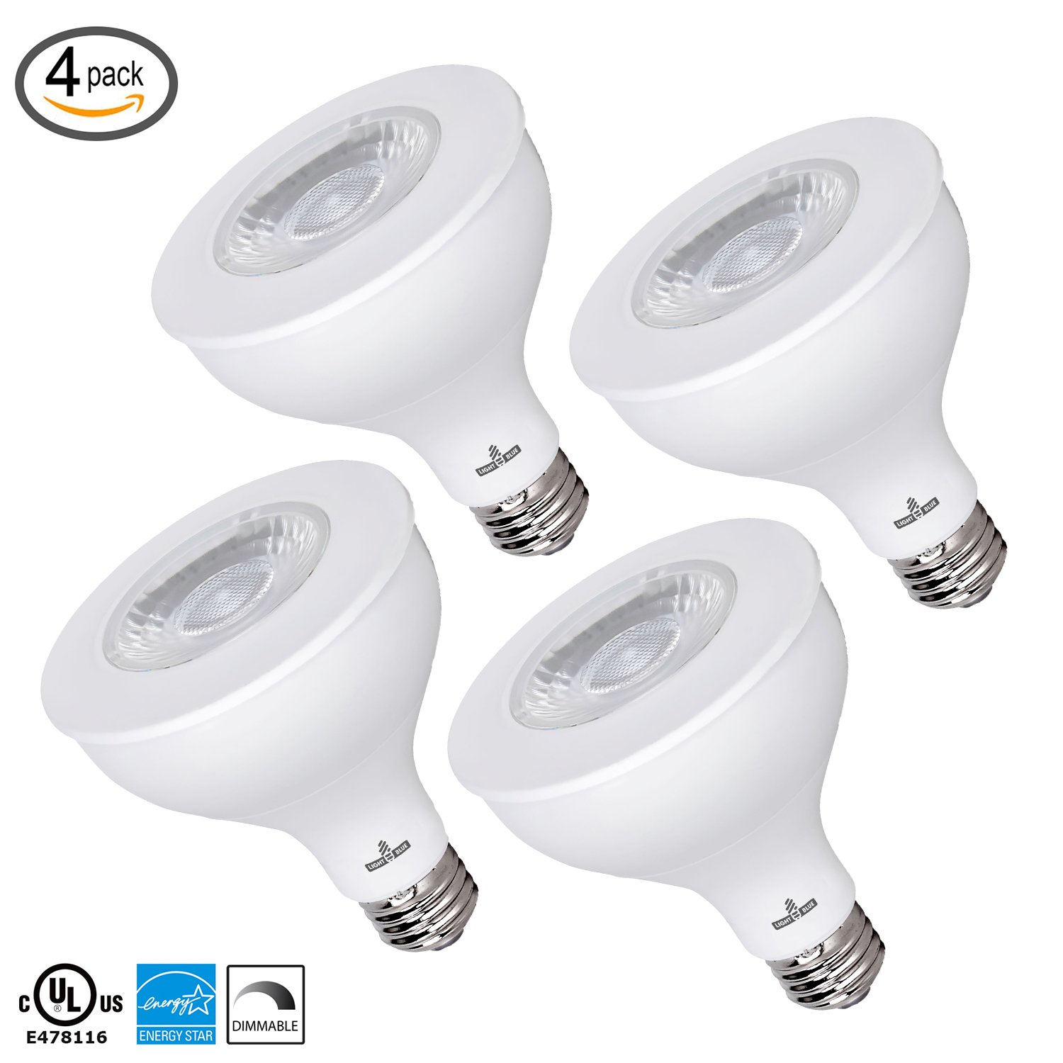(4-PACK) PAR30 LED Dimmable Bulb, 11W Flood Light Bulb, (75W Equivalent) 3000K Soft White, 850-Lumens, E26 Base Recessed Lights, UL & Energy Star Listed by Light Blue USA