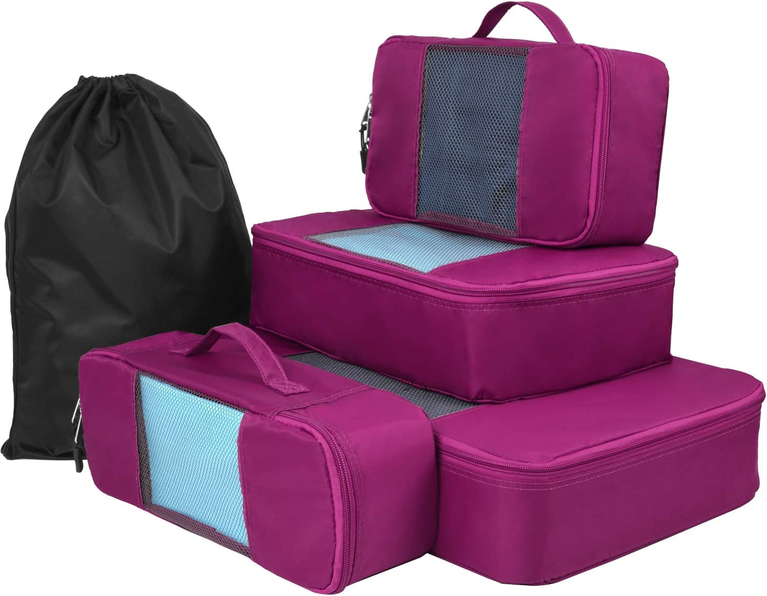 Medium Compression Weekender Luggage Cube Organizers Bags Small Slim Purple, 5 Set Large Packing Cubes for Travel