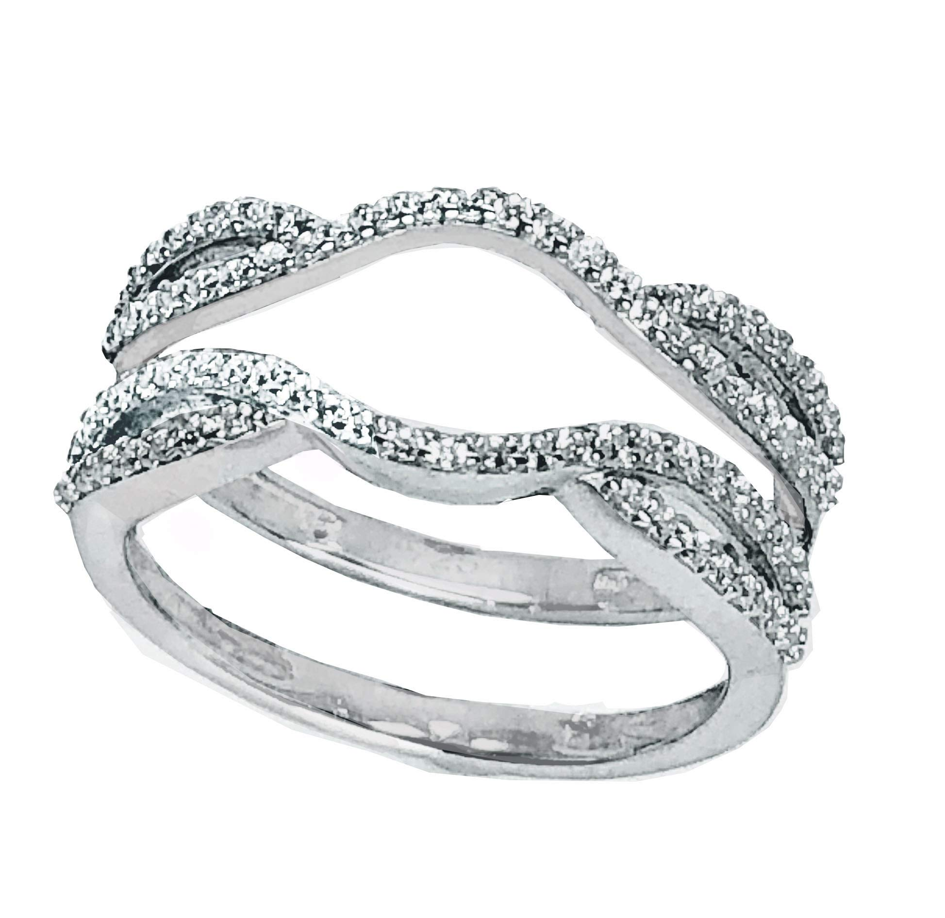 Wedding Band Guard Wrap for Women Engagement Ring Sterling Silver Size 8 by LaRaso & Co