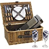 Wicker Picnic Basket for 2 Persons with Cutlery Service Set, Willow Hamper Supplies Kit Best Gift for Father Mother…