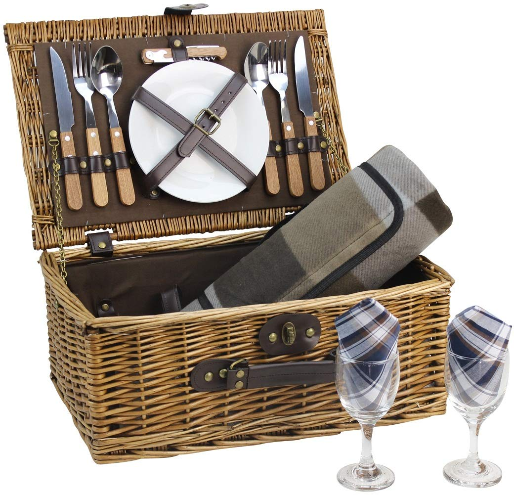 HappyPicnic Wicker Picnic Basket for 2 Persons with Cutlery Service Set, Willow Hamper Supplies Kit Best Gift for Mother's Day Outdoor Party