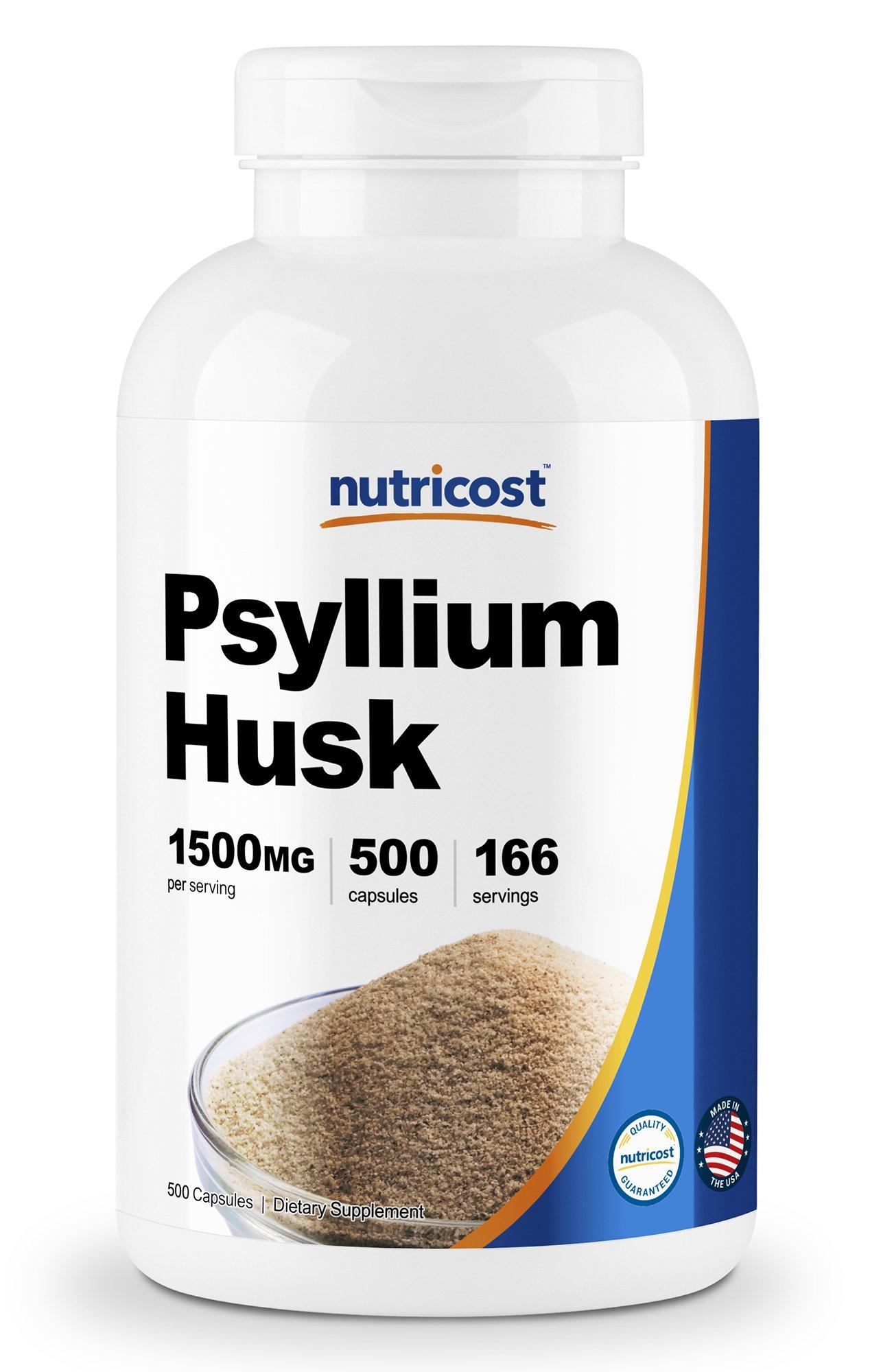 Nutricost Psyllium Husk 500mg, 500 Capsules - 1500mg Per Serving, Non-GMO & Gluten Free by Nutricost