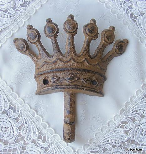 Amazon.com: Gancho de hierro fundido KING/reina corona café ...