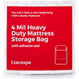 Linenspa Heavyweight 4 mil Mattress Bag with Adhesive Closure Strip - Moving and Storage Plastic Cover - Twin/Twin XL