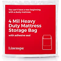 Linenspa Heavyweight 4 mil Mattress Bag with Adhesive Closure Strip - Moving and Storage Plastic Cover