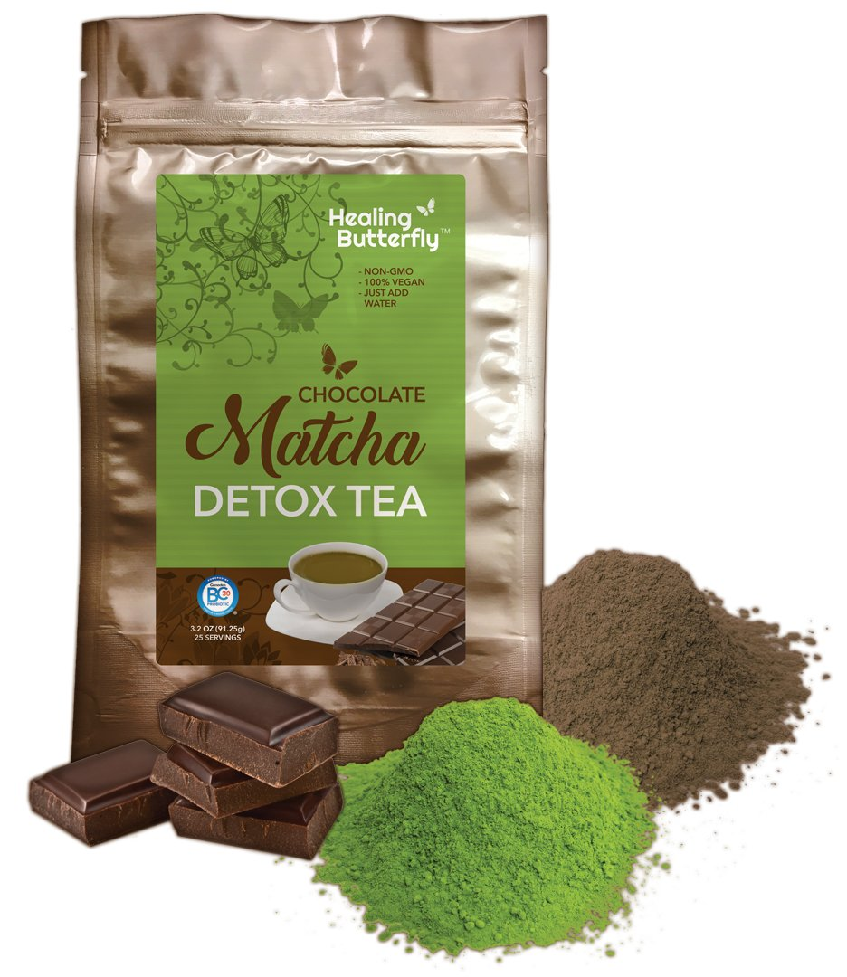 Chocolate Matcha Detox Tea, Detoxify and Cleanse Your Body With Organic Japanese Premium Matcha, Cacao, and Probiotics, Boosts Your Metabolism And Tastes Great, [91.25g, 3.22oz, 25 Servings]