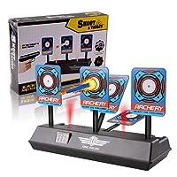 Target, Disparos automáticos de los niños Disparo automático Puntaje Juguete con Pantalla LCD Efecto de Sonido con luz Inteligente para Balas de Nerf Soft Juegos de Tiro