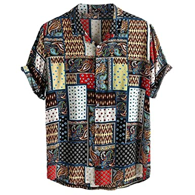 Yivise Camisetas Informales para Hombres Hit Color Stand Collar ...