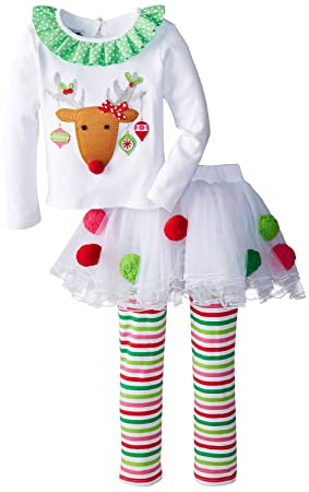 mud pie girls christmas outfit infant or toddler white reindeer tutu set 6 9 months - Mud Pie Christmas Outfit