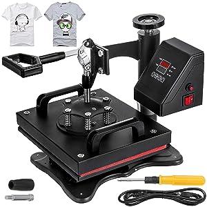 VEVOR 12X10 Inch Heat Press Dual Digital Heat Press Machine 650W Swing Away Heat Press T-Shirt Sublimation Printer Transfer 360 Degree Rotation for DIY T-Shirts