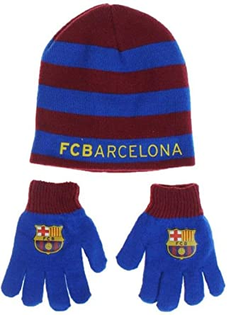 Barça bonnet gant enfant FC Barcelone Messi Suarez Article sous licence  officielle c3ced73b2bd