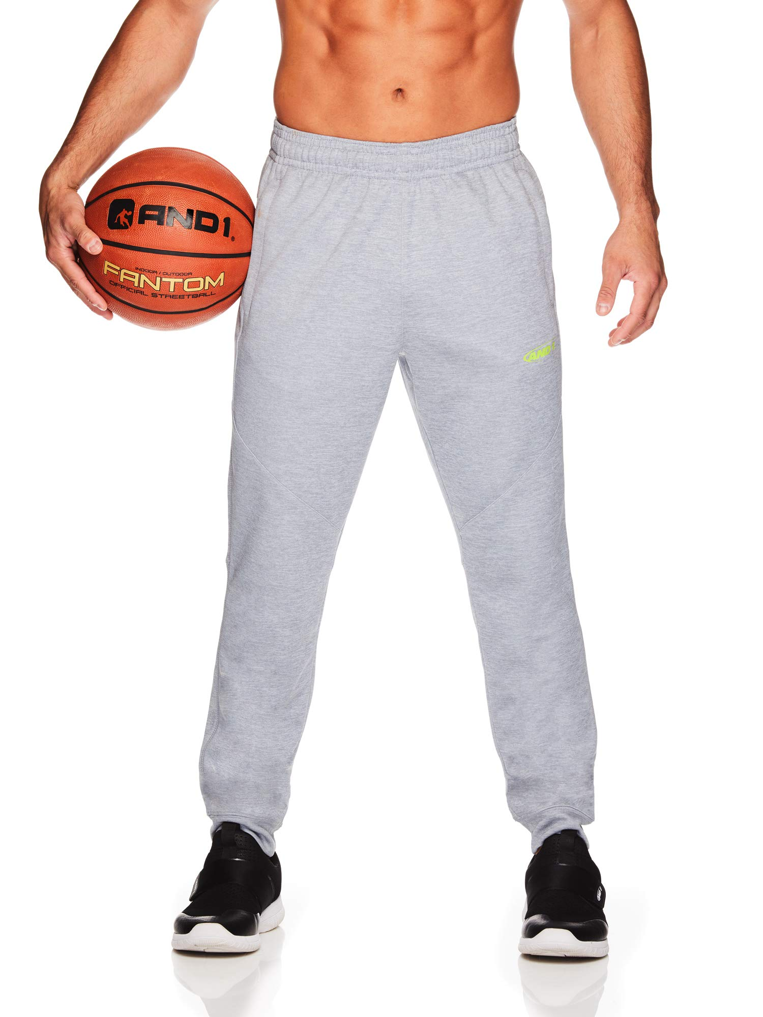AND1 Men's Tricot Jogger Pants - Basketball Running & Jogging Sweatpants w/Pockets - Grey Heather/Lime, Small
