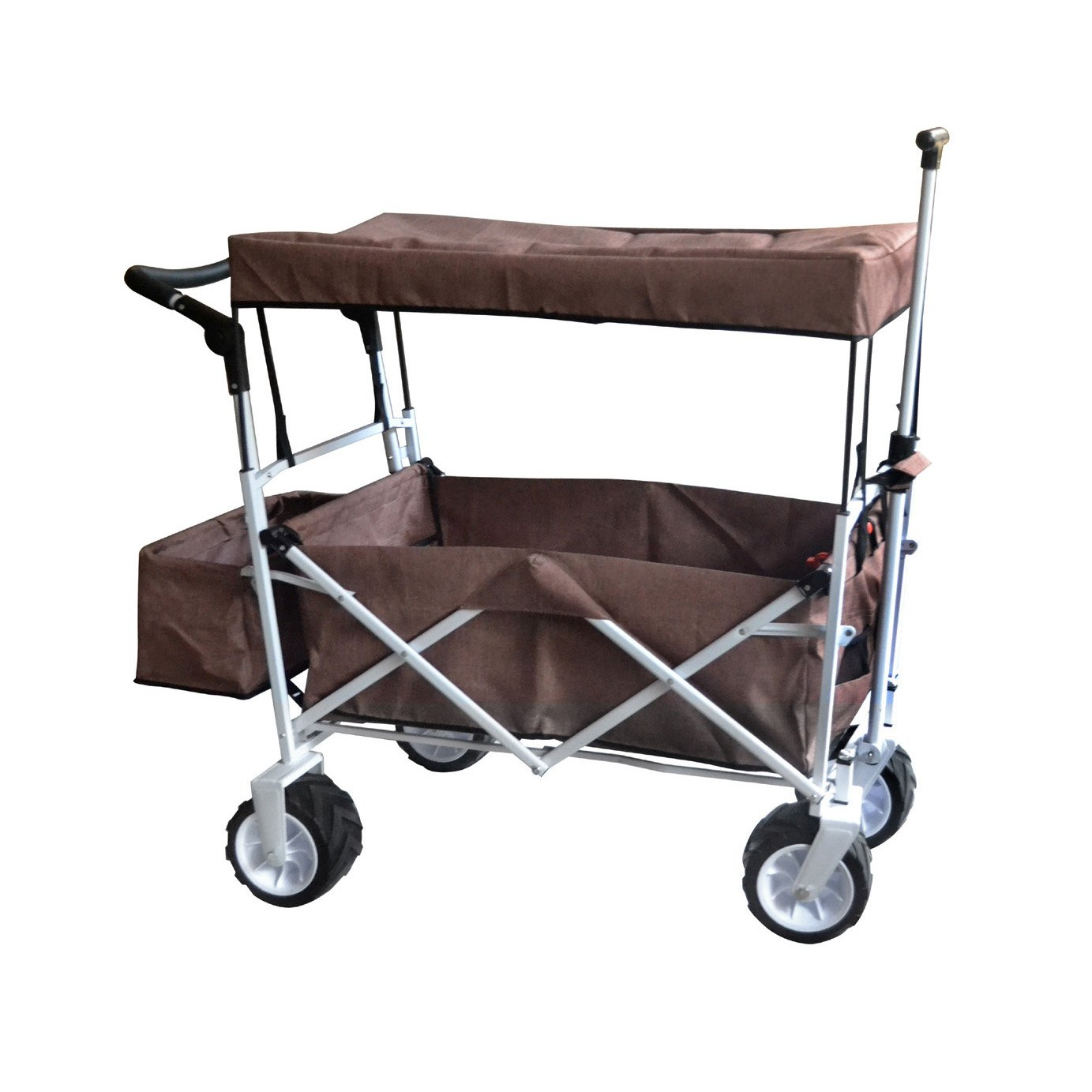 Brown Push and Pull Handle Folding Stroller Wagon Outdoor Beach Sport Collapsible Baby Trolley W/Canopy Gray Garden Utility Shopping Travel CART - Free ICE Cooler Bag - Easy Setup NO Tool Necessary