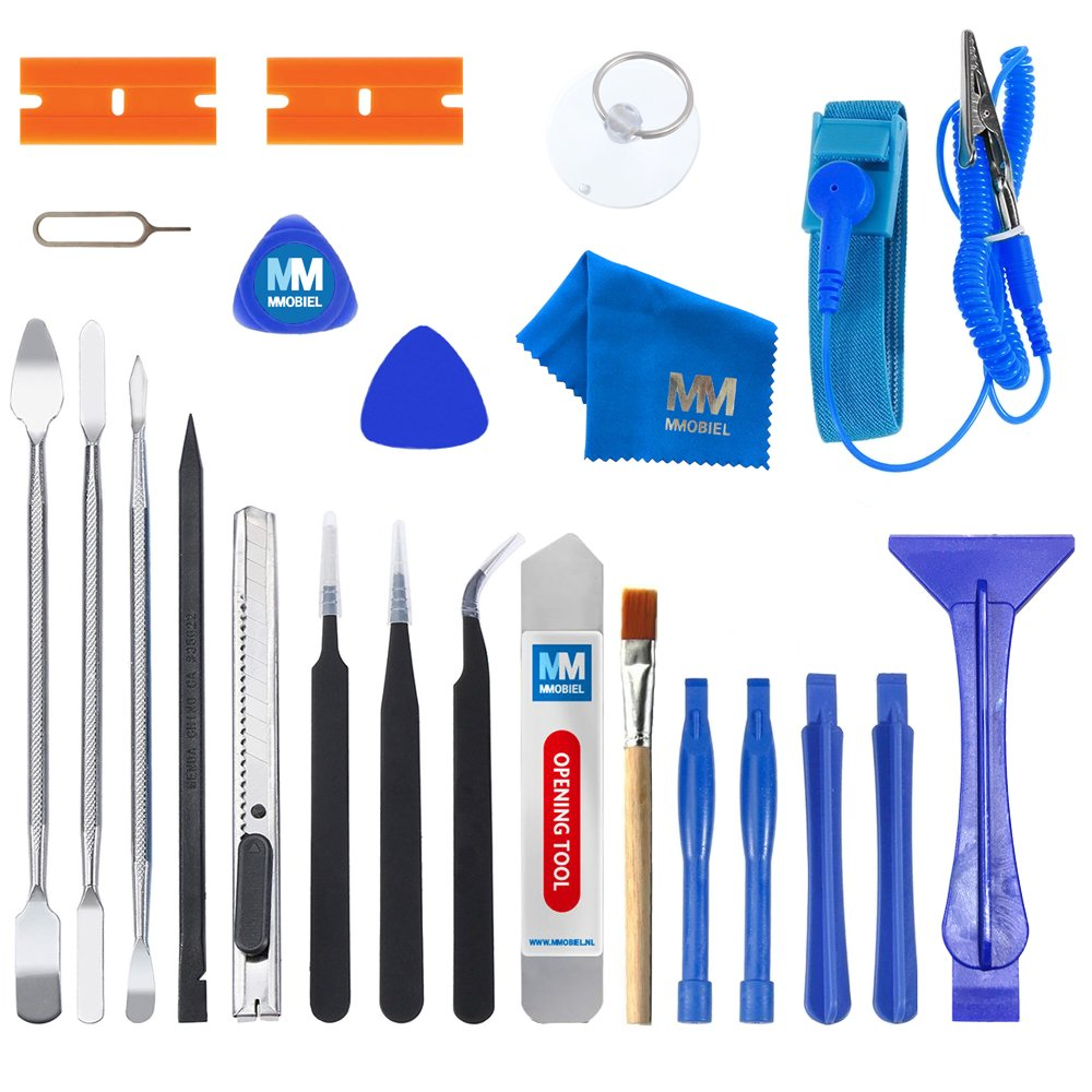 MMOBIEL 23 in 1 Professional Premium Repair Opening Tool Kit Set INKL. Anti Static Wrist Strap for Smartphones, Computers, Electronic Device and Other Multimedia Notebooks Repair