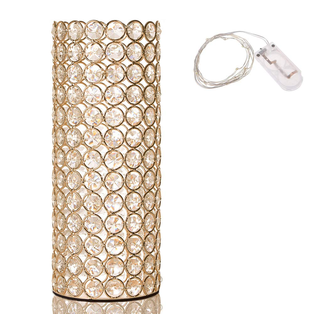 VINCIGANT Gold Crystal Cylinder Vase for Mothers Day Holiday House Decor Table Centerpieces with Led Copper Wire String Light by VINCIGANT
