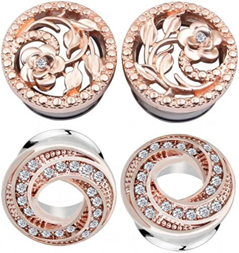 PAIR Stainless Steel Rose Gold Color Plated Double Flared Ear Tunnel Plug 2pcs