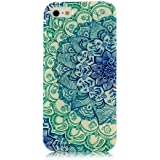 Iphone 5c Case, JAHOLAN Green Totem Flower Clear Bumper TPU Soft Case Rubber Silicone Skin Cover for iphone 5C