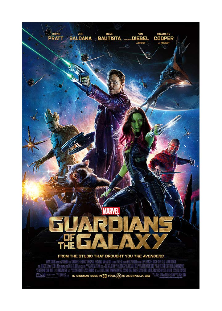 """Guardians of The Galaxy Movie Poster (Chris Pratt, Zoe Saldana, 2014)- Size 24"""" X 36"""" - This is a Certified Poster Office Print with Holographic Sequential Numbering for Authenticity."""