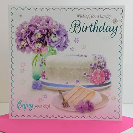 Awe Inspiring A Lovely Birthday Cake Slice Lilac Flowers Design Female Happy Birthday Cards Printable Giouspongecafe Filternl