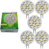Trango TGG415–2.5W Lot d'ampoules LED G412V AC/DC env. 2,5W 250lumens avec 15Power SMD Blanc chaud Ampoule MR16Culot G4GU4Spot halogène de rechange, G4 13.00 watts 12.00 volts