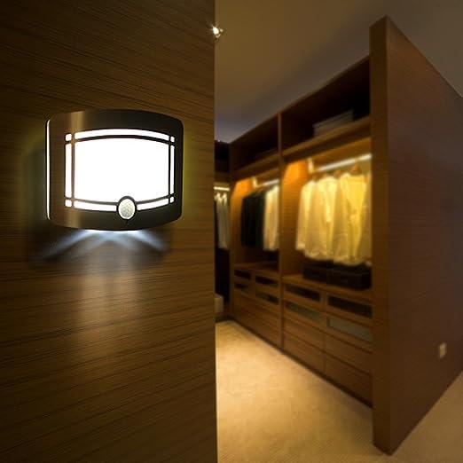Deckey Luz LED Lamparas Solares con Sensor de Movimiento 1W Impermeable IP65 con 8 LED Color Blanco Cálido 2 LED Color Blanco frío: Amazon.es: Iluminación