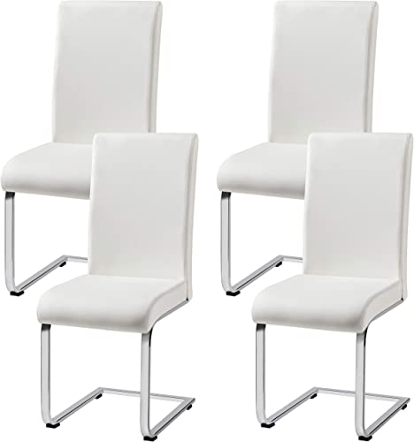 Yaheetech 4pcs Dining Chairs Armless Dining/Living Room Kitchen Chairs PU Leather Upholstered Seat and Metal Legs Side Chair