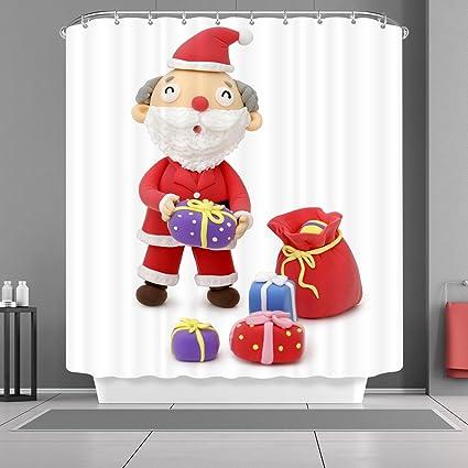 Amazon VANCAR Xmas Merry Christmas Shower Curtain Santa Claus