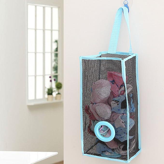 Dispensador de bolsas AiSi, plegable y para colgar, de tela de malla de PVC, para guardar, organizar y bolsas reciclables de basura, calcetines y guantes: ...