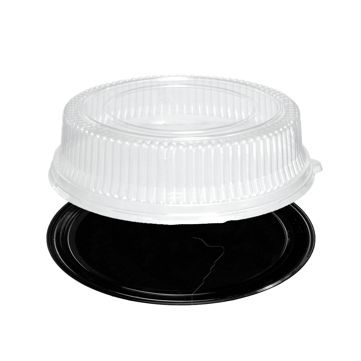 Party Essentials N716417 Soft Plastic 16-Inch Round Flat Serving/Catering Trays, Black with Clear Dome Lids, Set of 2