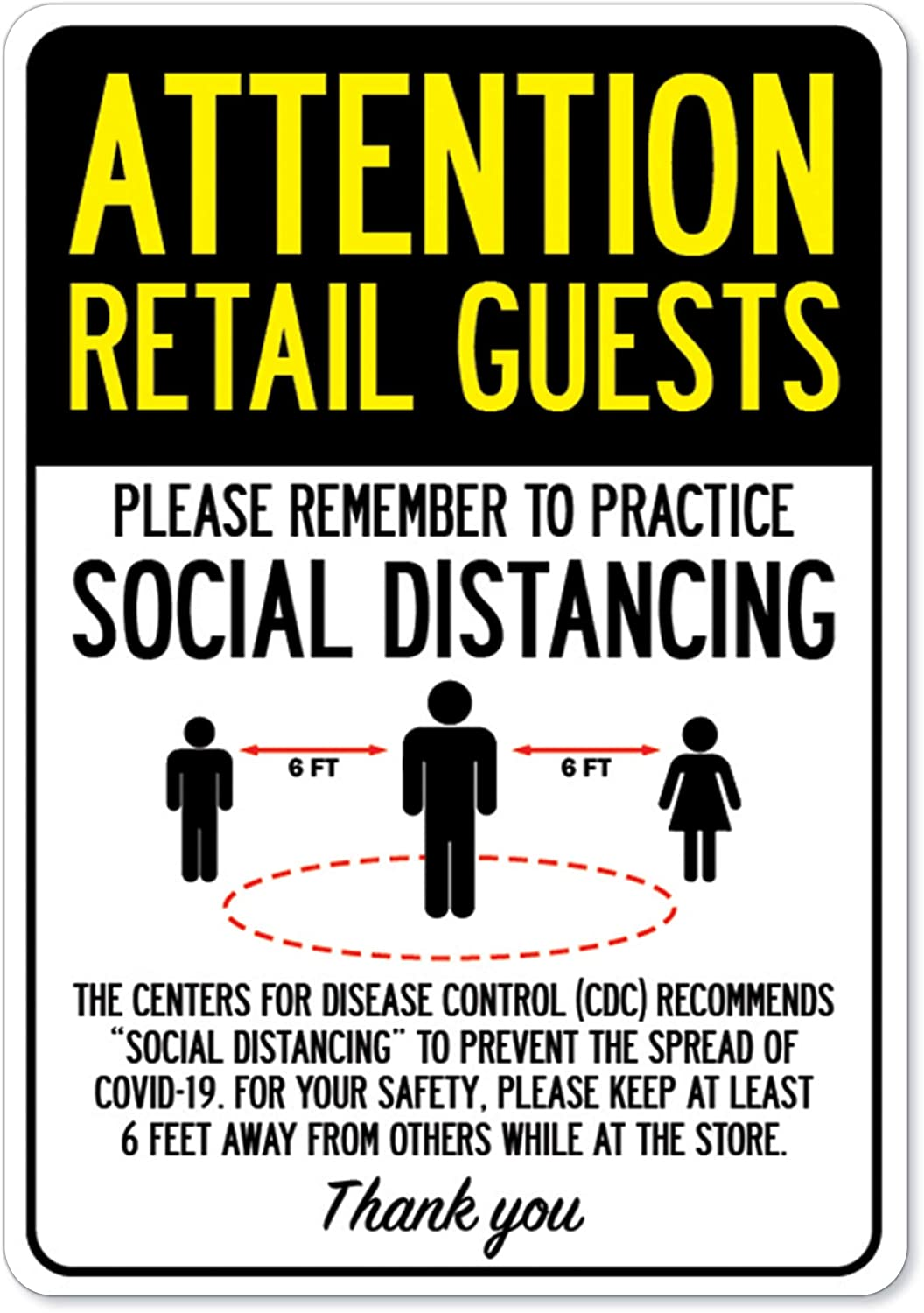 Vinyl Decal Municipality Home /& Colleagues Public Safety Sign Attention Retail Guests Practice Social Distancing Made in The USA Protect Your Business