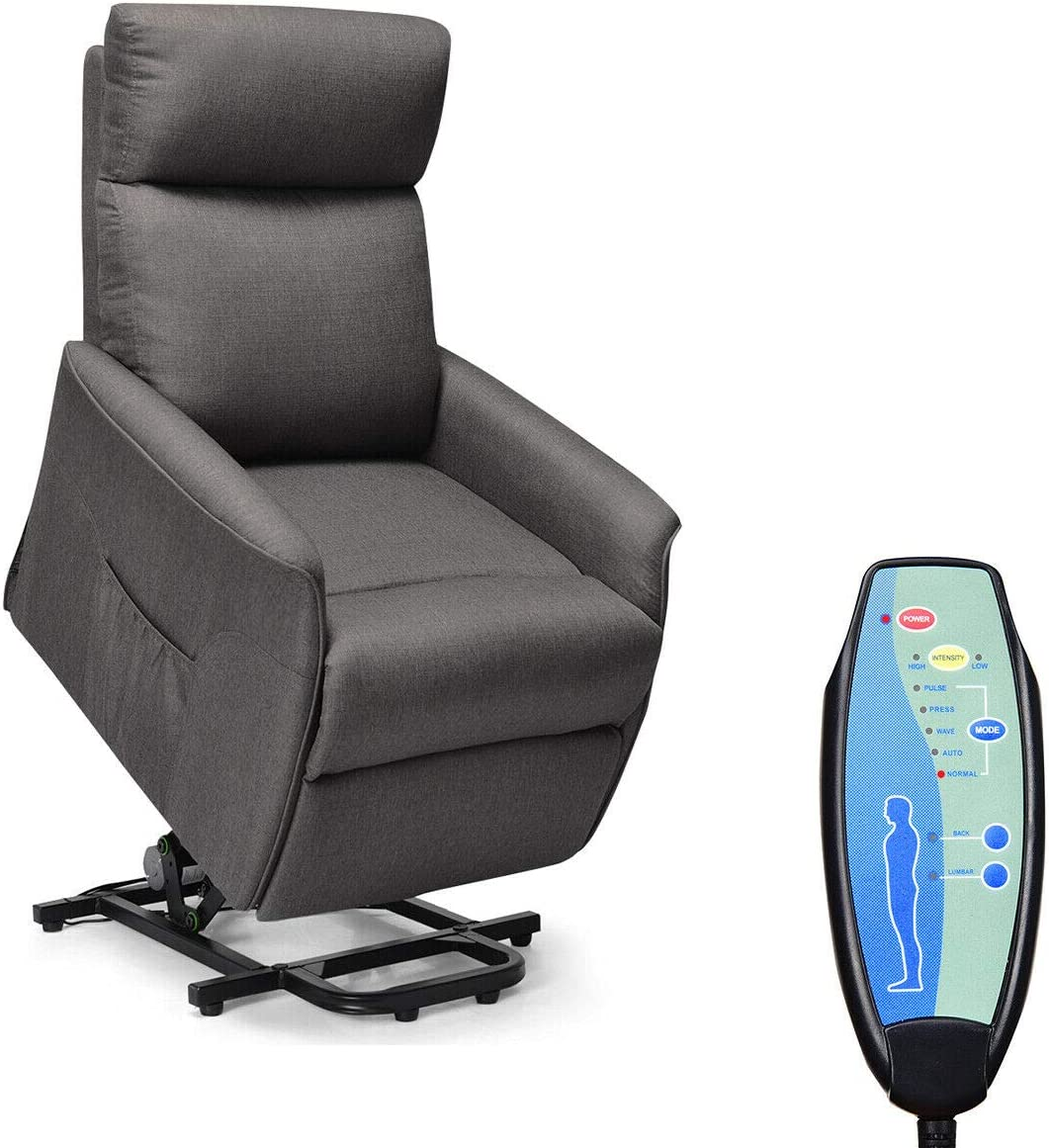Giantex Power Lift Massage Recliner Chair for Elderly, Soft Warm Fabric Sofa, Heavy Padded Cushion, Remote Control, Home Theater Seating, Leisure Lounge w Side Pocket, Living Room Office Dark Grey