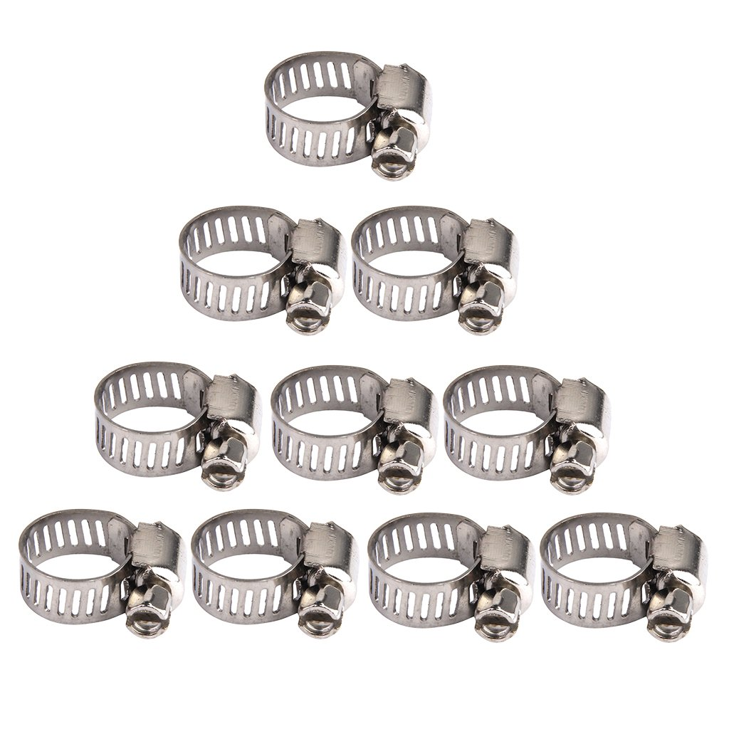 Sharplace 10er-Set Einstellbare Federklemme Federbü gel Rohrschellen Clips fü r Kraftstoff Rohr Schlauchschellen 8-12mm