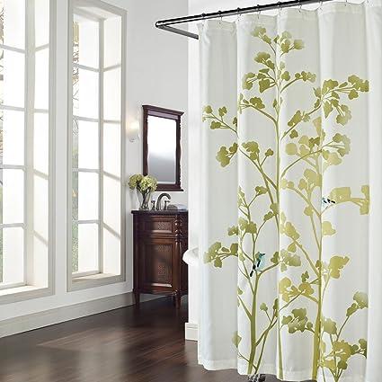 Amazon.com: DS BATH Luchen Green Tree Shower Curtain,Flower Shower ...