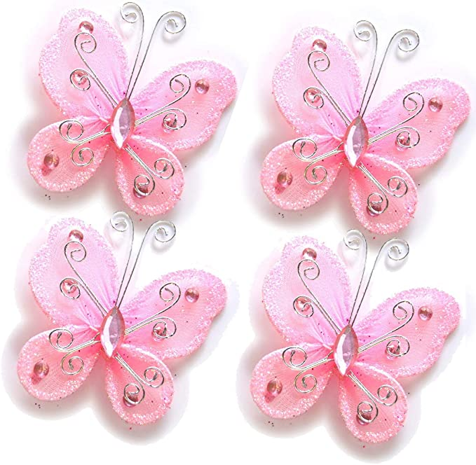 "Lot of 20 PCS 2/"" Organza Butterflies Craft Wedding Party Decoration DIY Choose"