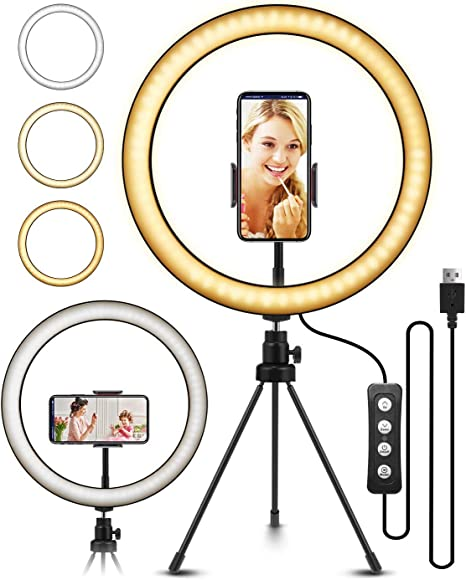 Meifigno 10 Ring Light with Tripod Stand 3 Light Modes 10 Inch LED Selfie Ring Light for Video Conference /& Live Stream Compatible with iPhone Pixel Etc Dual Phone Holders 10 Levels Samsung