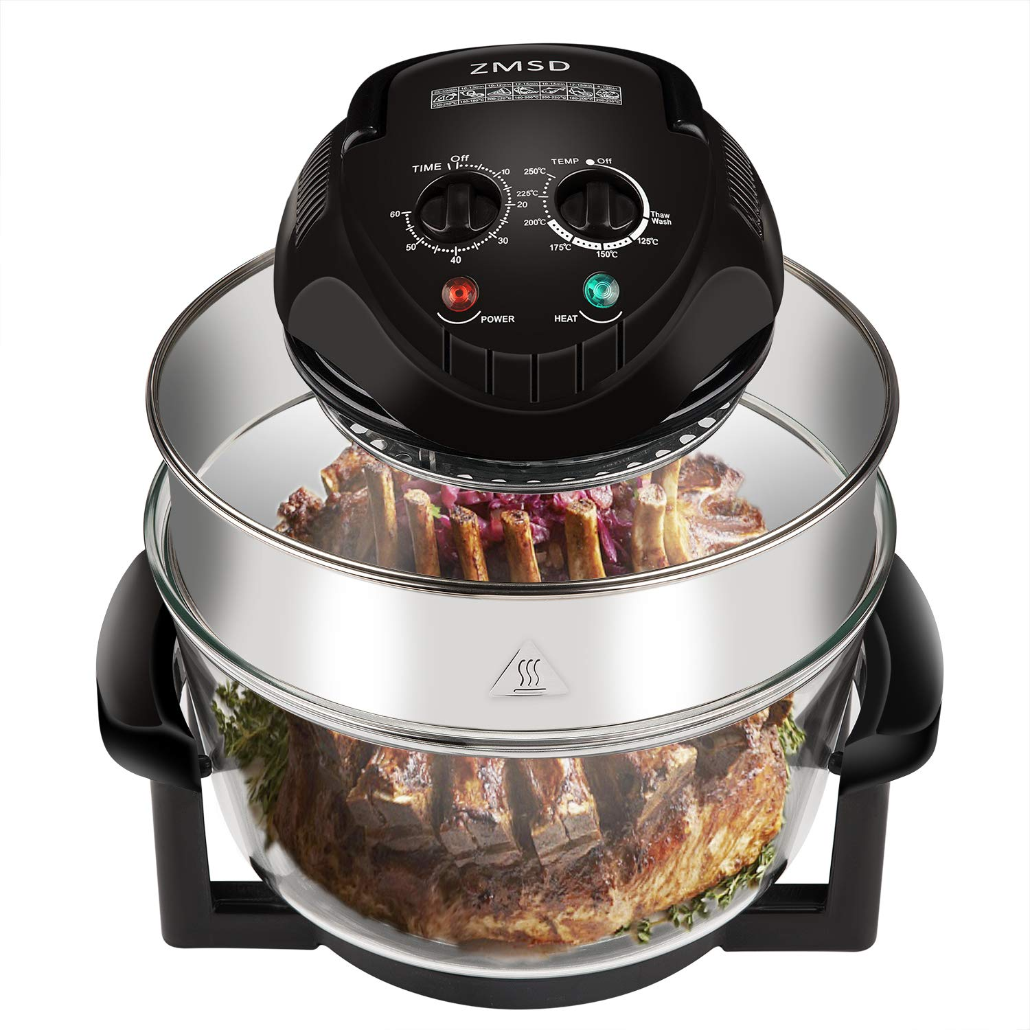 ZMSD Oil-less Air Fryer,Infrared Convection Halogen Oven Countertop,Bake, Grill, Steam Broil, Roast & Air-Fry, Includes Glass Bowl,Tong,Broil Rack,Pan and Toasting Rack,18 Quart 1400W,120V