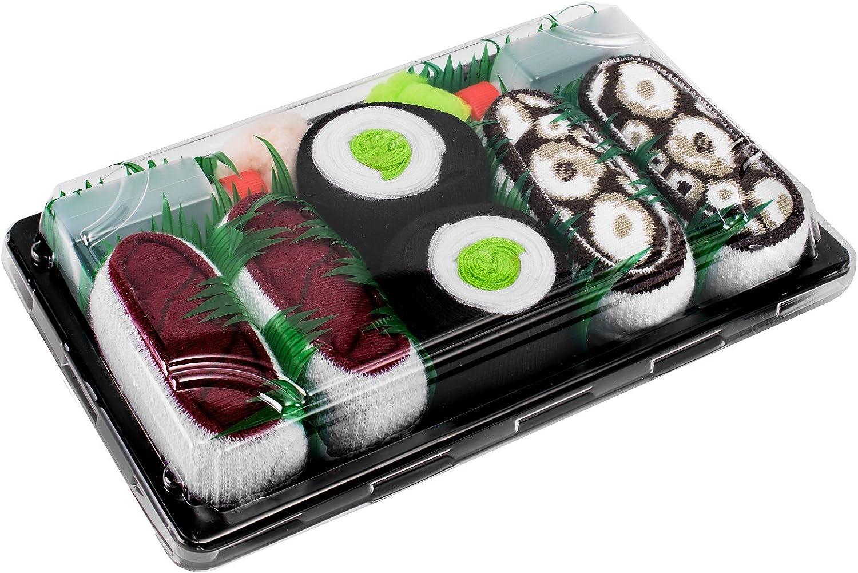 Rainbow Socks - Men's Women's - Sushi Socks Box Tuna Maki Cucumber Octopus - 3 Pairs