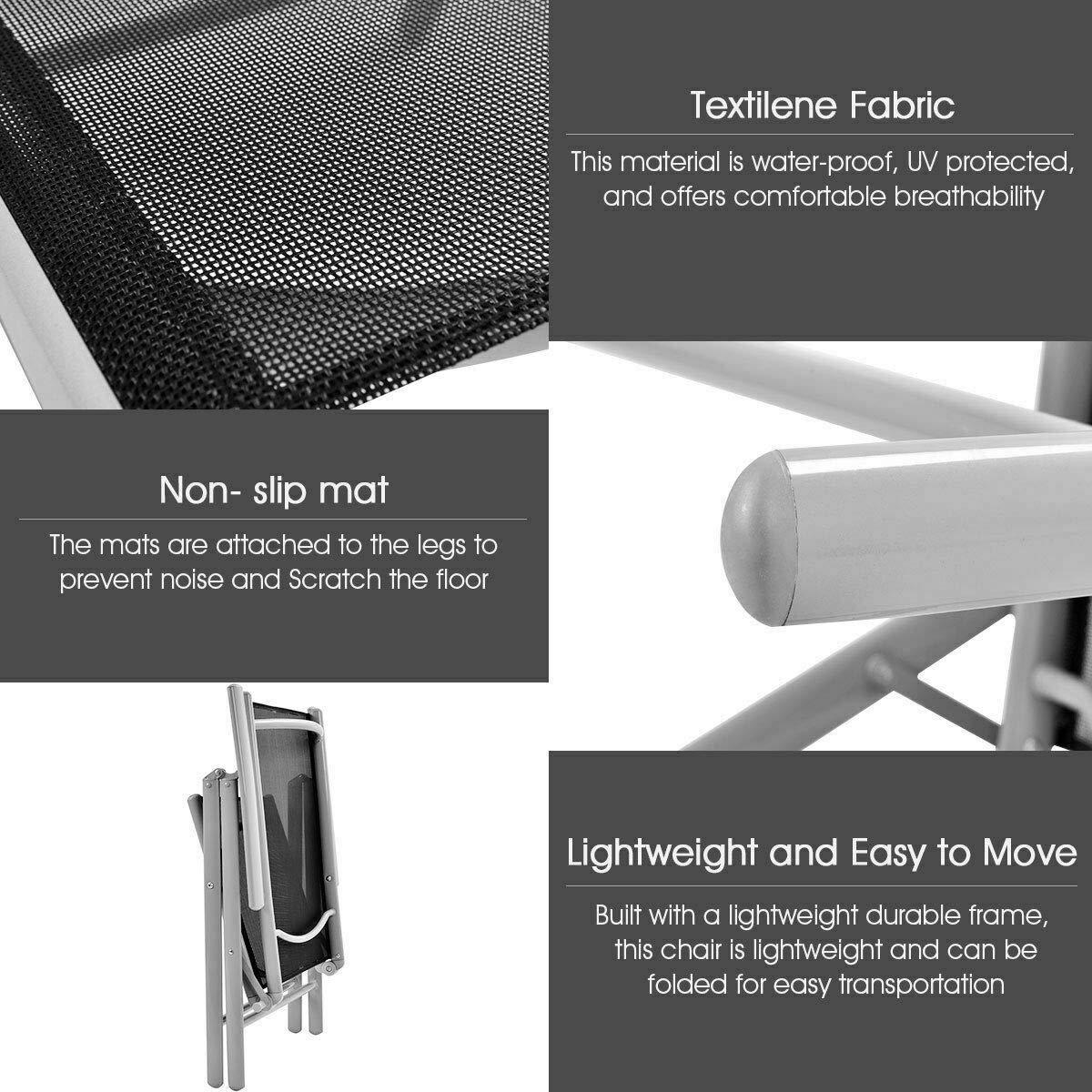 Amazon.com: Heize - Juego de 2 sillas plegables para patio ...